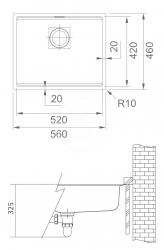 FRANKE - Kubus 2 Fragranitový dřez KNG 110-52, 560x460 mm, šedý kámen (125.0512.507), fotografie 2/1