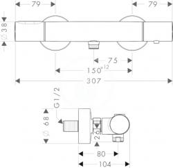 AXOR - Citterio M Sprchová termostatická baterie, chrom (34635000), fotografie 2/2