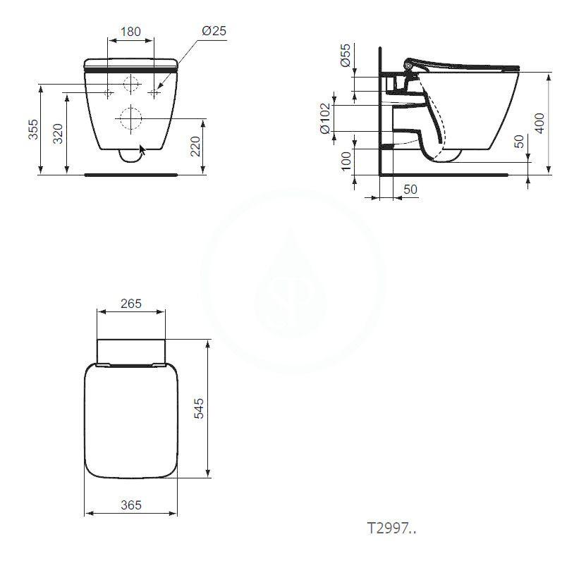IDEAL STANDARD - Strada II Závěsné WC, AquaBlade, bílá (T299701)