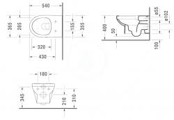 DURAVIT - DuraStyle Basic Závěsné WC, Rimless, s WonderGliss, alpská bílá (25620900001), fotografie 2/2