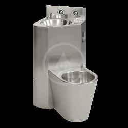 SANELA - Nerezová WC WC s umyvadlem do rohu, WC na zemi vpravo, závitové tyče (SLWN 08P)
