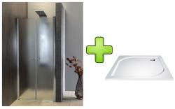 AQUALINE - PILOT otočné sprchové dveře dvojkřídlé 800mm+vanička (PT082-SET1)