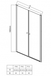 AQUALINE - PILOT otočné sprchové dveře dvojkřídlé 800mm+vanička (PT082-SET1), fotografie 16/10