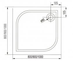 AQUALINE - PILOT otočné sprchové dveře dvojkřídlé 800mm+vanička (PT082-SET1), fotografie 20/10