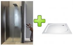AQUALINE - PILOT otočné sprchové dveře dvojkřídlé 900mm+vanička (PT092-SET1)