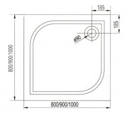 AQUALINE - PILOT otočné sprchové dveře dvojkřídlé 900mm+vanička (PT092-SET1), fotografie 16/10