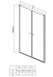 AQUALINE - PILOT otočné sprchové dveře dvojkřídlé 900mm+vanička (PT092-SET1), fotografie 20/10