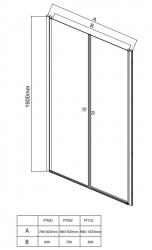 AQUALINE - PILOT otočné sprchové dveře dvojkřídlé 800mm+žlab (PT082-SET2), fotografie 24/12