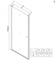 AQUALINE - PILOT otočné sprchové dveře 800mm+žlab (PT080-SET2), fotografie 8/11
