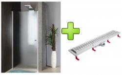 AQUALINE - PILOT otočné sprchové dveře 900mm+žlab (PT090-SET2)