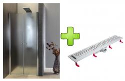 AQUALINE - PILOT otočné sprchové dveře dvojkřídlé 1000mm+žlab (PT102-SET2)