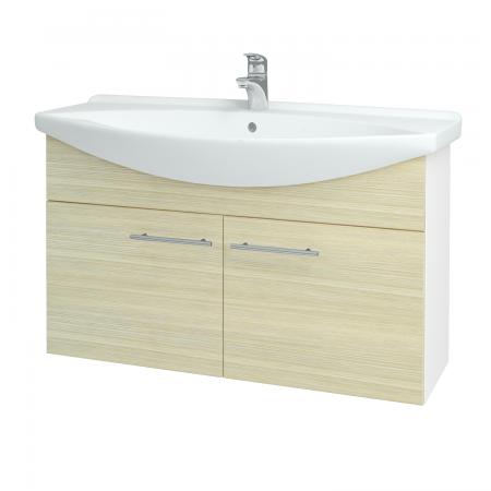 Dřevojas - Koupelnová skříň TAKE IT SZD2 105 - N01 Bílá lesk / Úchytka T02 / D04 Dub (152222B)