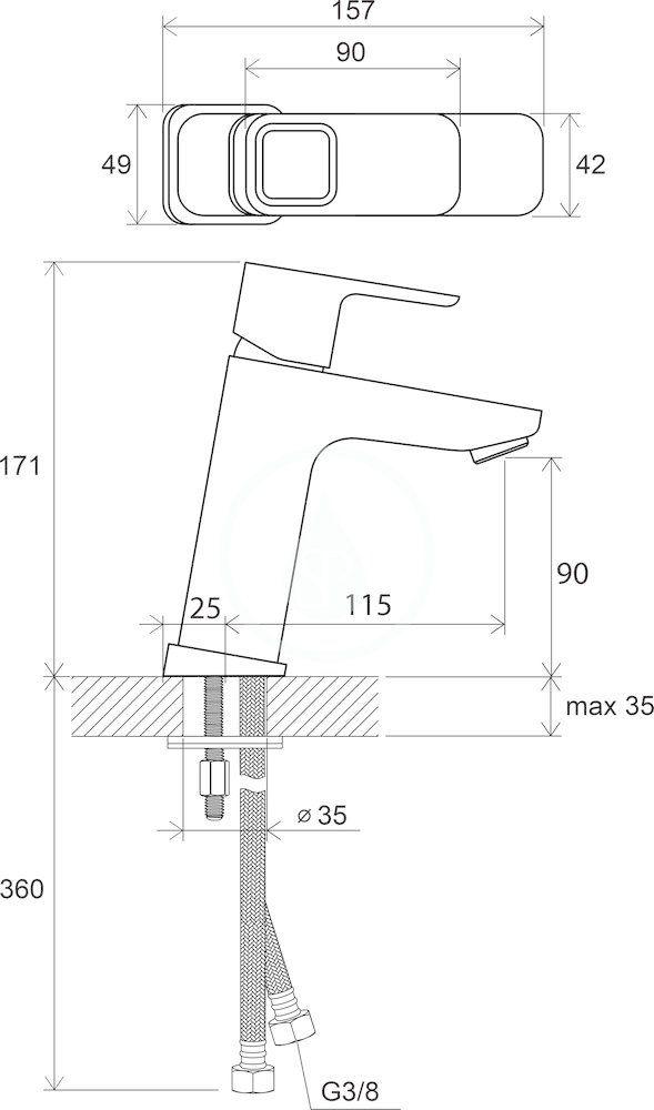 RAVAK - 10° Umyvadlová stojánková baterie TD 014.00 bez výpusti, chrom (X070062)