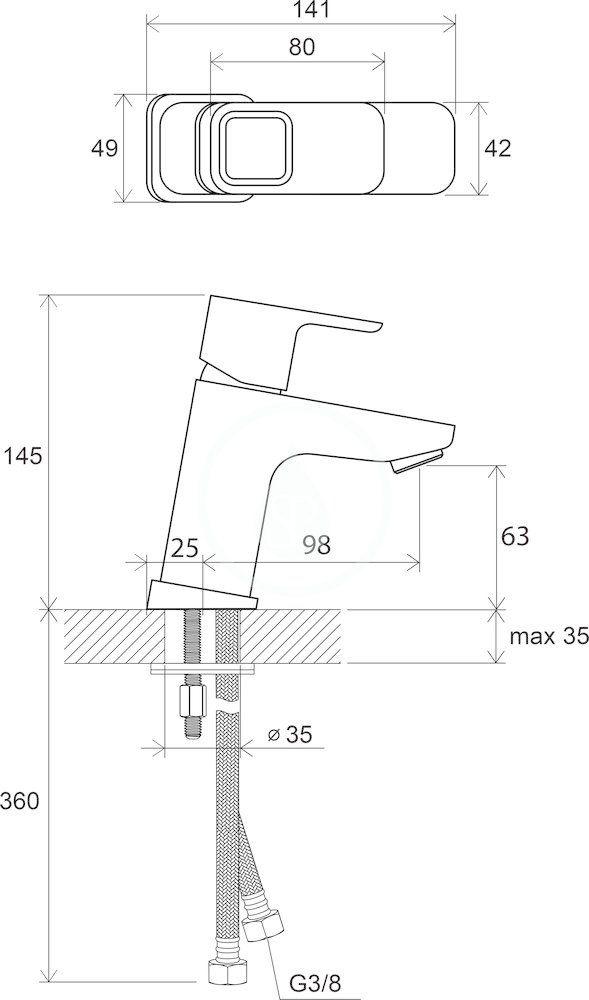 RAVAK - 10° Umyvadlová stojánková baterie TD 012.00 bez výpusti, chrom (X070064)
