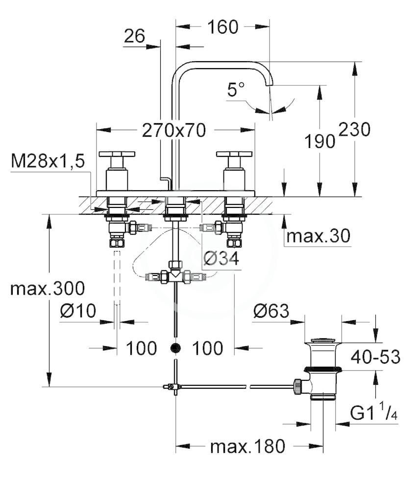 GROHE - Allure Umyvadlová 3-otvorová baterie, chrom (20143000)