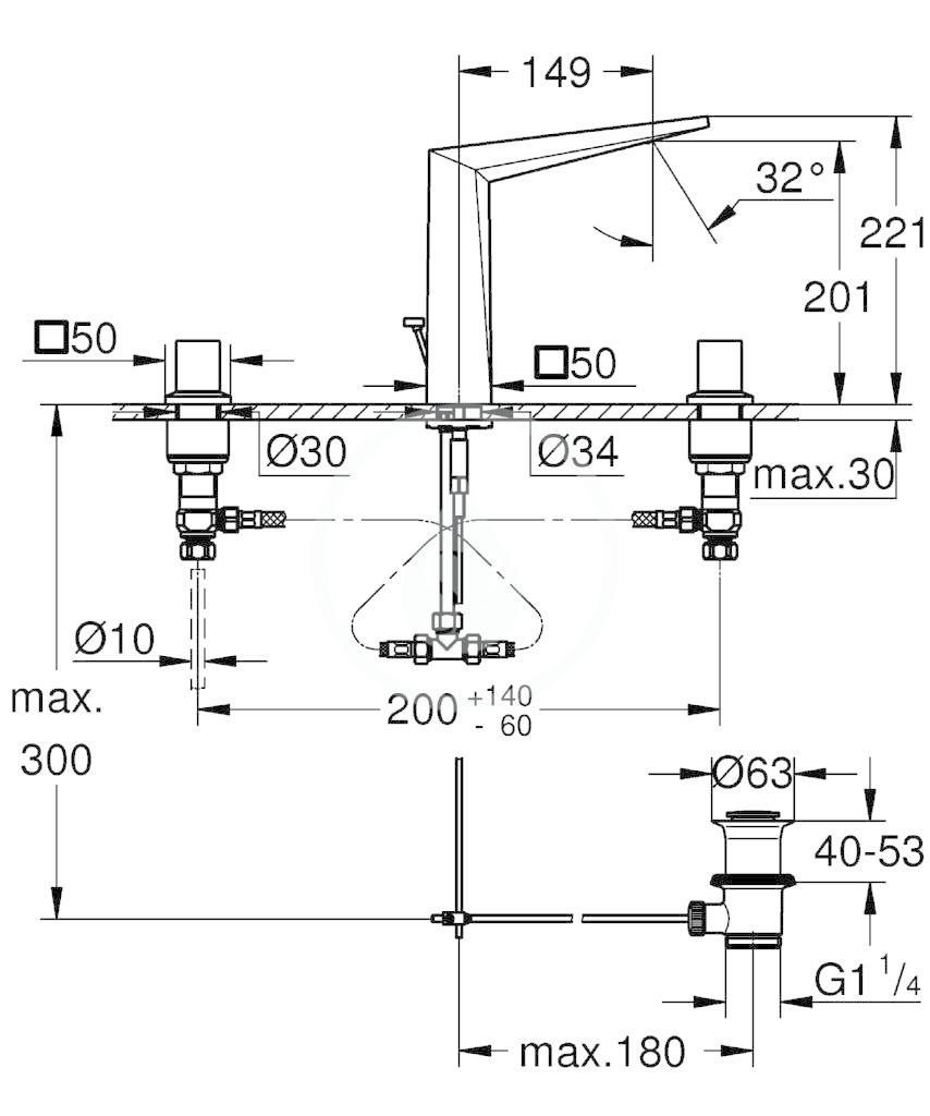 GROHE - Allure Brilliant Umyvadlová 3-otvorová baterie, chrom (20344000)