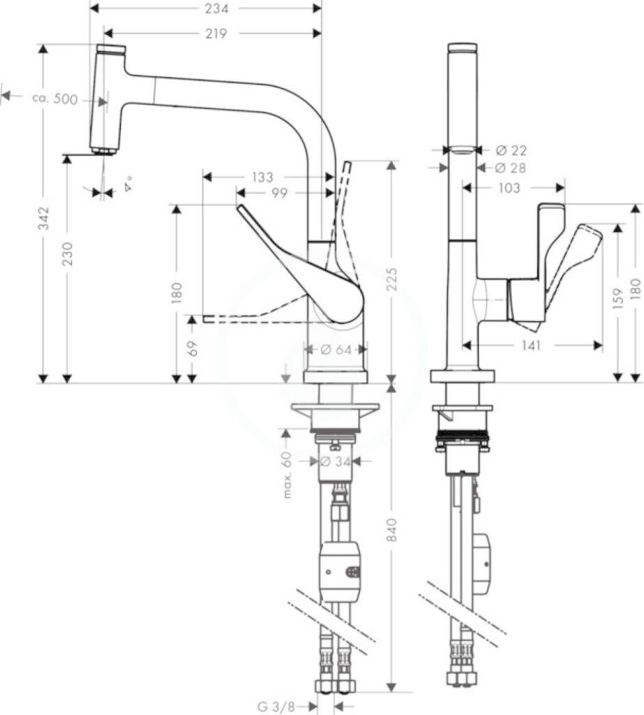 AXOR - Citterio Páková dřezová baterie s vytahovacím výtokem, vzhled nerezu (39861800)