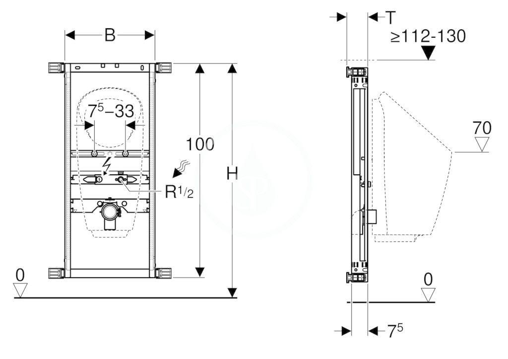 GEBERIT - Kombifix Montážní prvek pro pisoár, 109–127 cm, univerzální, pro ovládání splachování na omítku (457.686.00.1)