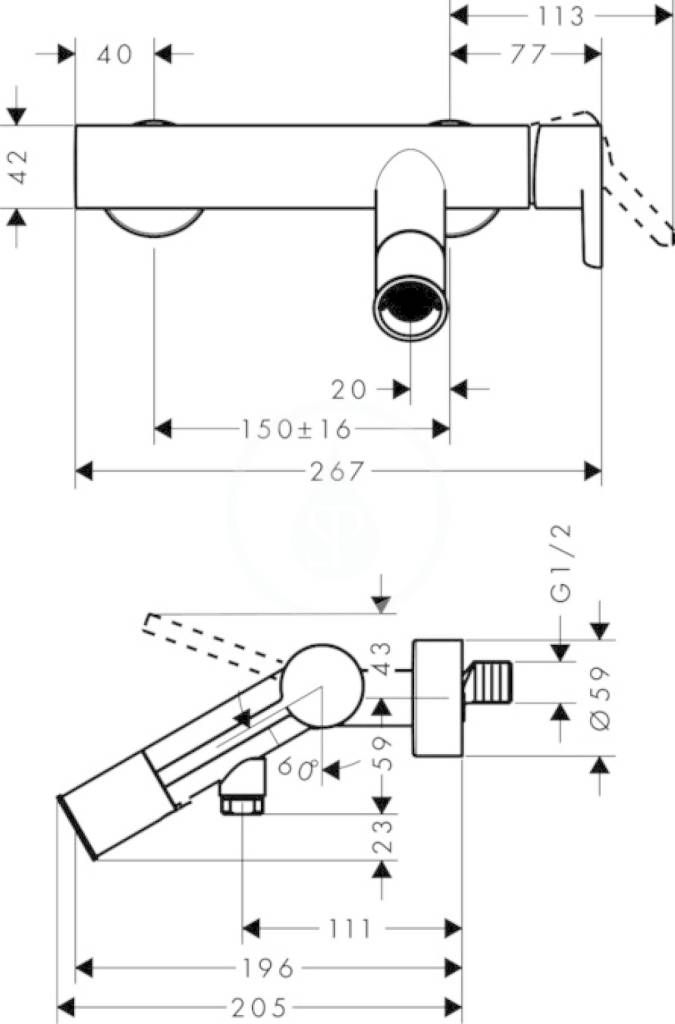 AXOR - Starck Páková vanová baterie, chrom (10465000)