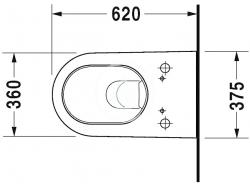 DURAVIT - Starck 2 Závěsné WC pro bidetové sedátko SensoWash, s WonderGliss, alpská bílá (25335900001), fotografie 6/5