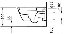 DURAVIT - Starck 2 Závěsné WC pro bidetové sedátko SensoWash, s WonderGliss, alpská bílá (25335900001), fotografie 2/5