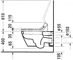 DURAVIT - Starck 2 Závěsné WC pro bidetové sedátko SensoWash, s WonderGliss, alpská bílá (25335900001), fotografie 10/5