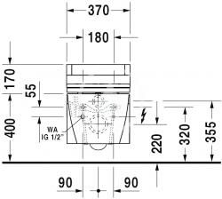 DURAVIT - Starck 2 Závěsné WC pro bidetové sedátko SensoWash, s WonderGliss, alpská bílá (25335900001), fotografie 8/5