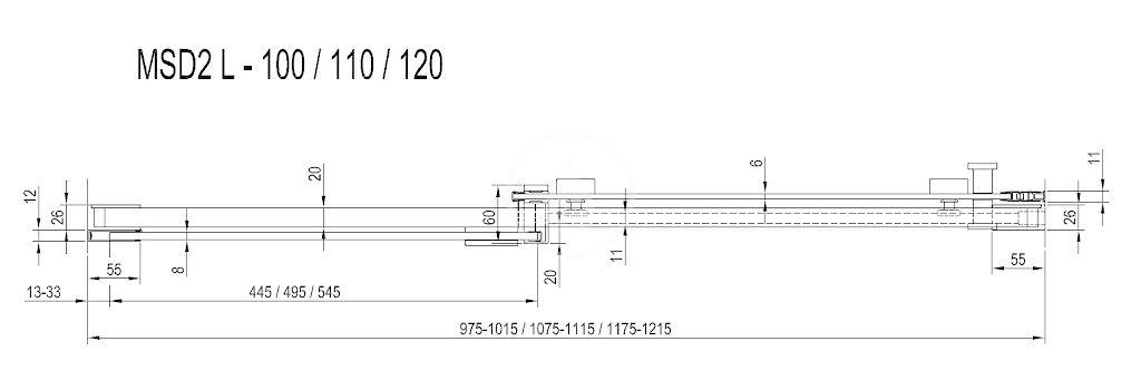 RAVAK - Matrix Sprchové dveře dvoudílné MSD2-120 L, 1175-1215 mm, satin/čiré sklo (0WLG0U00Z1)