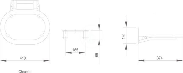 RAVAK - Ovo Chrome Sklopné sedátko 410x375x130 mm, chrom/bílá (B8F0000028)