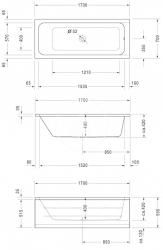 DURAVIT - D-Code Vana 1700x700 mm, alpská bílá (700097000000000), fotografie 2/2