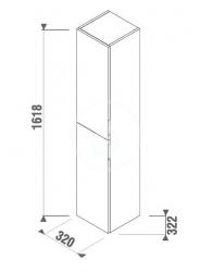 JIKA - Cubito Vysoká skříňka, 320x1618x322 mm, bílá (H43J4222305001), fotografie 2/1