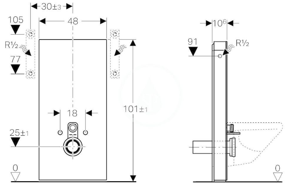 GEBERIT - Monolith Sanitární modul pro závěsné WC, 101 cm, boční přívod vody, mátově zelená (131.022.SL.5)
