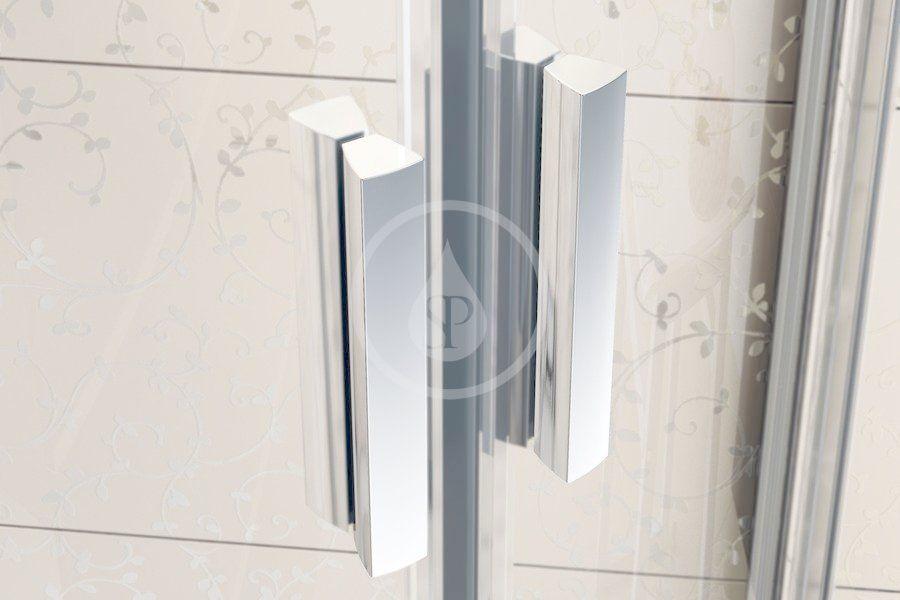 RAVAK - Blix Čtvrtkruhový sprchový kout čtyřdílný BLCP4-90, 880-900 mm, lesklý hliník/sklo Grape (3B270C00ZG)