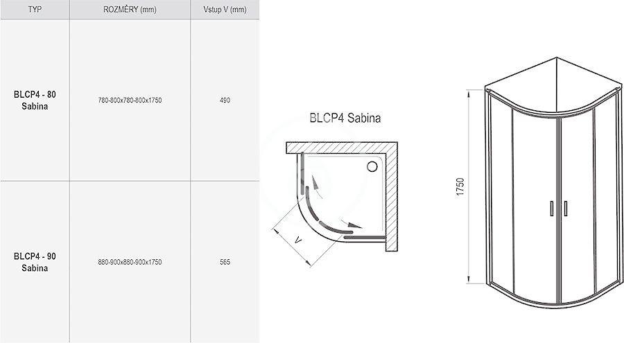 RAVAK - Blix Čtvrtkruhový sprchový kout čtyřdílný BLCP4-80 Sabina, 780-800 mm, satin/čiré sklo (3B240U40Z1)