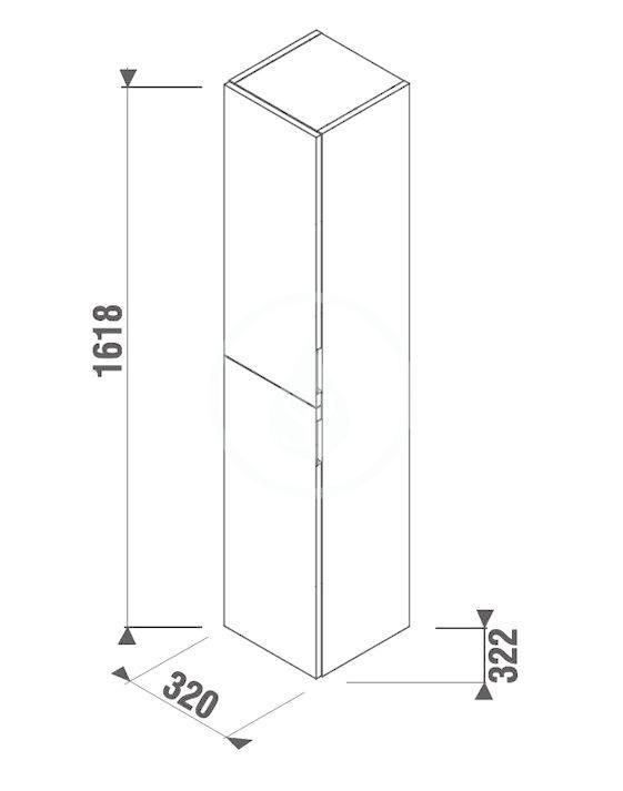 JIKA - Cubito Vysoká skříňka, 320x1618x322 mm, tmavá borovice (H43J4222304611)