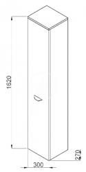 JIKA - Deep Vysoká skříňka závěsná, 300mm x 270mm x 1620mm - skříňka, pravá, korpus bílý, dveře bílé (H4541524345001), fotografie 2/1