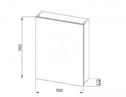 JIKA - Deep Zrcadlová skříňka 580x760 mm, bílá (H4541634345001), fotografie 6/5