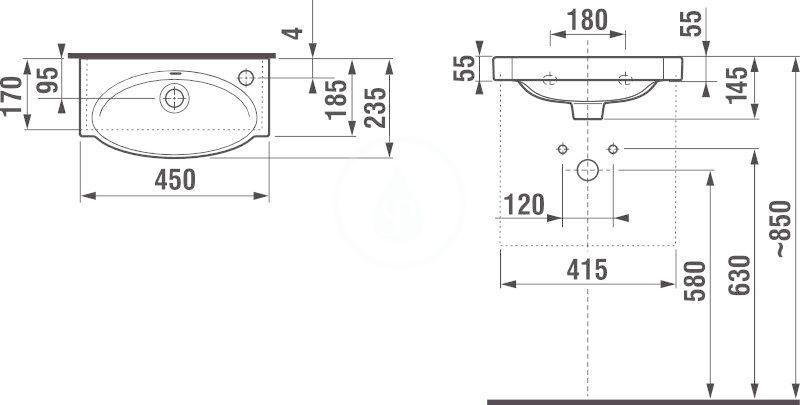 JIKA - Tigo Umývátko s přepadem 450x235 mm, otvor vpravo, bílá (H8152120001061)