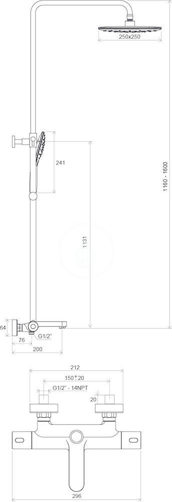 RAVAK - Termo Sprchový set 300, TE 092.00/150 s vanovým termostatem, 250 mm, bílá/chrom (X070098)