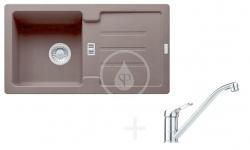 FRANKE - Sety Kuchyňský set G81, granitový dřez STG 614-78, tmavě hnědá + baterie FC 9541.031, chrom (114.0365.741)