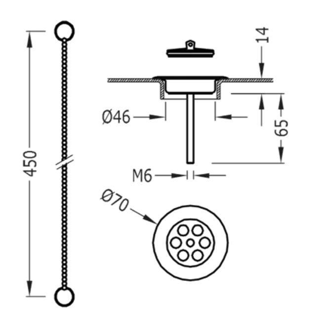 TRES - Souprava příslušenství pro umyvadlovou, bidetovou a dřezovou baterii, průměr70mm (03474601AC)