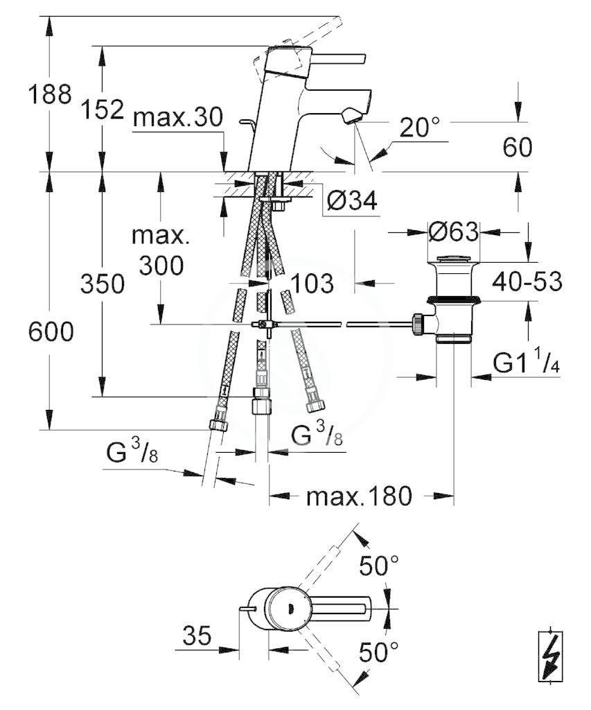 GROHE - Concetto Páková umyvadlová baterie, chrom (23060001)