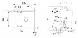 FRANKE - Sety Kuchyňský set G54, granitový dřez BFG 611-62, pískový melír + baterie FC 650, chrom (114.0323.800), fotografie 2/2