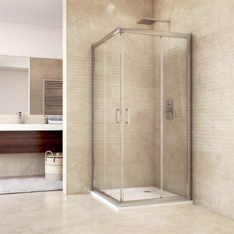 MEREO Sprchový kout, Mistica, čtverec, 90 cm, chrom ALU, sklo Čiré, dveře zasouvací CK608A23H