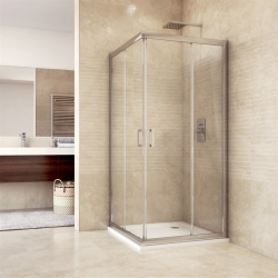 MEREO - Sprchový kout, Mistica, čtverec, 90 cm, chrom ALU, sklo Čiré, dveře zasouvací (CK608A23H)