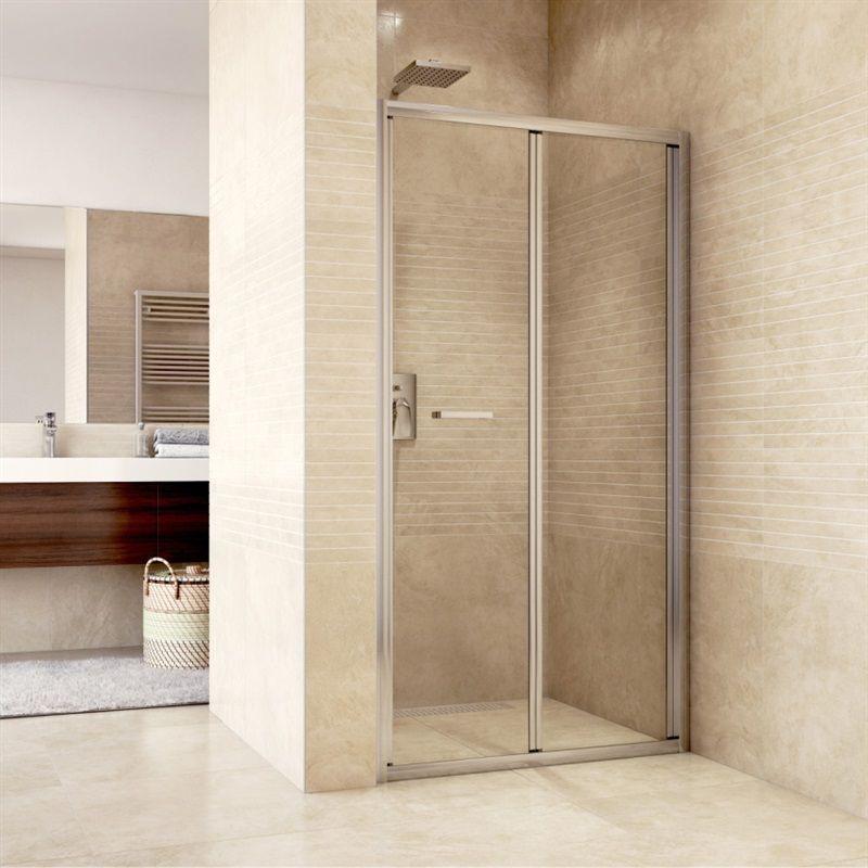 MEREO Sprchové dveře zalamovací, Mistica, 90x190 cm, chrom ALU, sklo Čiré CK80123H