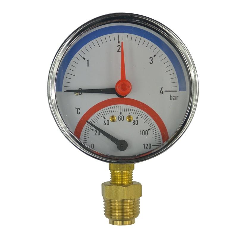 "MEREO Termomanometr 0-6bar, 0-120 °C, spodní vývod 1/2"" PR3083"