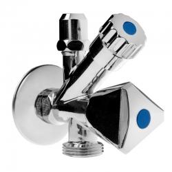 """MEREO - Ventil rohový pro pračku a WC se zpětnou klapkou a růžicí, pochrom. mosaz, 1/2""""x3/8""""x3/4"""" (CR39C)"""