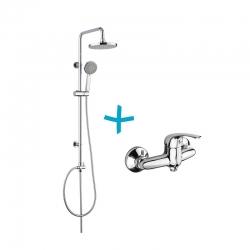 MEREO - Sprchová souprava Lila-plastová hlavová sprcha a třípolohová ruční sprcha vč. sprch. baterie 100 mm (CBEE609A)