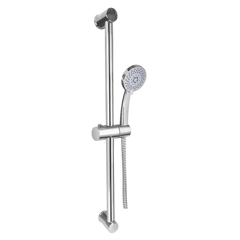 MEREO Sprchová souprava, pětipolohová sprcha, spirálová černá hadice, stavitelný držák, plast/chrom